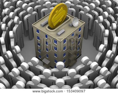 Contribution to the construction or major repairs of apartment building. Symbolic humans surrounded the apartment house stylized as piggy bank with a coin of the US dollar. Isolated. 3D Illustration