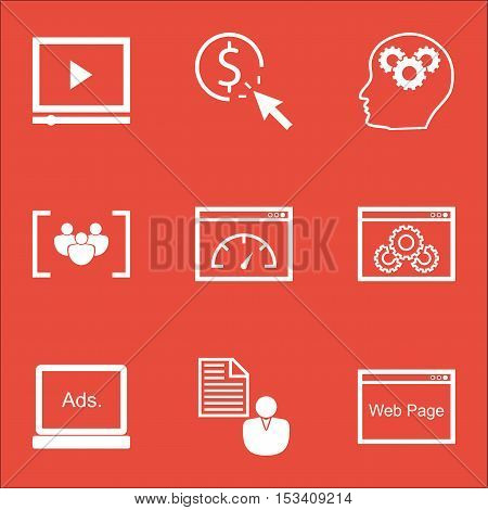 Set Of Advertising Icons On Website Performance, Website And Report Topics. Editable Vector Illustra