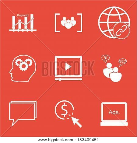 Set Of Marketing Icons On Conference, Video Player And Connectivity Topics. Editable Vector Illustra