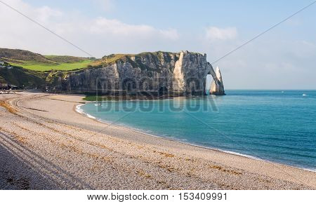 View Of Etretat White Cliffs And Beach In Normandy, France