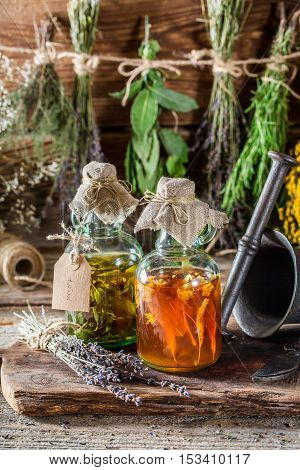 Therapeutic Tincture With Alcohol And Fresh Herbs