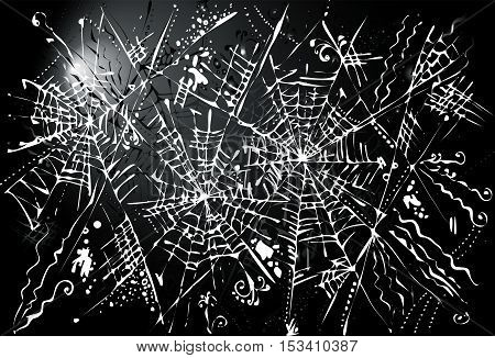 Halloween web background 325. Eau-forte black-and-white decorative texture vector illustration.