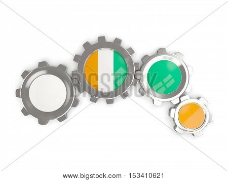 Flag Of Cote D Ivoire, Metallic Gears With Colors Of The Flag