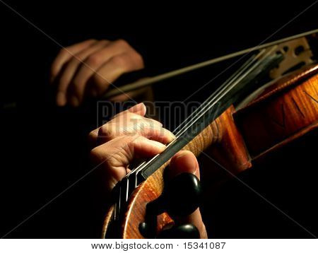 Musician playing violin isolated on black poster