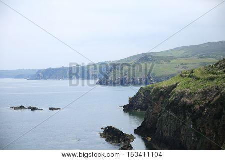 The cliffs near the city of Fishguard in Wales