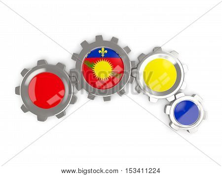Flag Of Guadeloupe, Metallic Gears With Colors Of The Flag