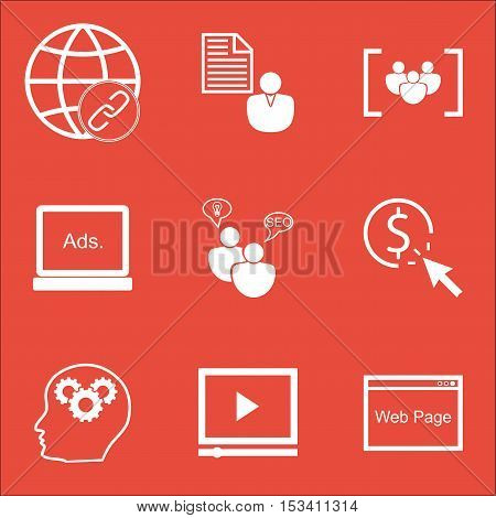 Set Of Advertising Icons On Ppc, Connectivity And Digital Media Topics. Editable Vector Illustration