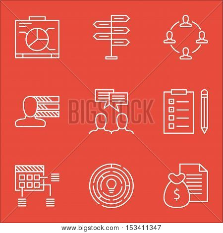 Set Of Project Management Icons On Reminder, Report And Discussion Topics. Editable Vector Illustrat