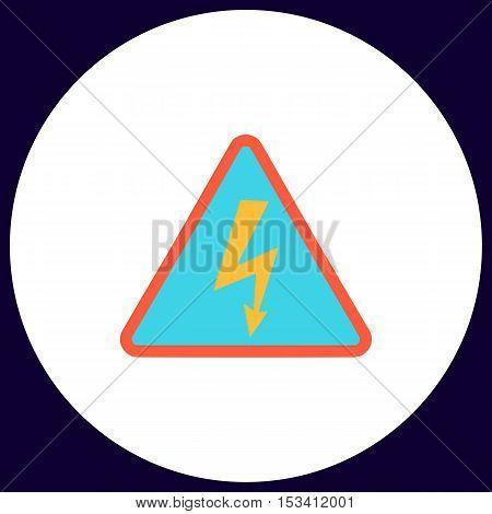 High voltage Simple vector button. Illustration symbol. Color flat icon