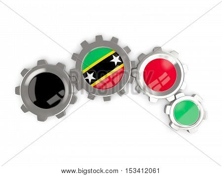 Flag Of Saint Kitts And Nevis, Metallic Gears With Colors Of The Flag