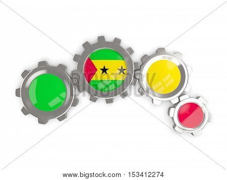Flag Of Sao Tome And Principe, Metallic Gears With Colors Of The Flag