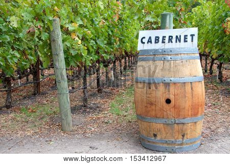 Wine Barrel in a vineyard with cabernet sign on top of it.