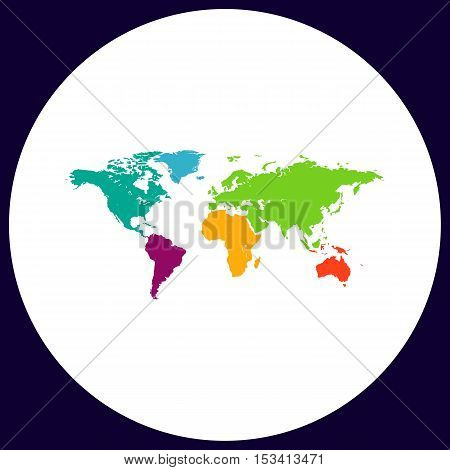 World Map Simple vector button. Illustration symbol. Color flat icon