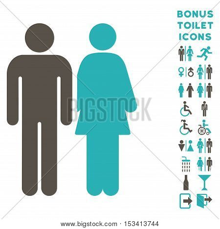 Married Couple icon and bonus male and female WC symbols. Vector illustration style is flat iconic bicolor symbols, grey and cyan colors, white background.