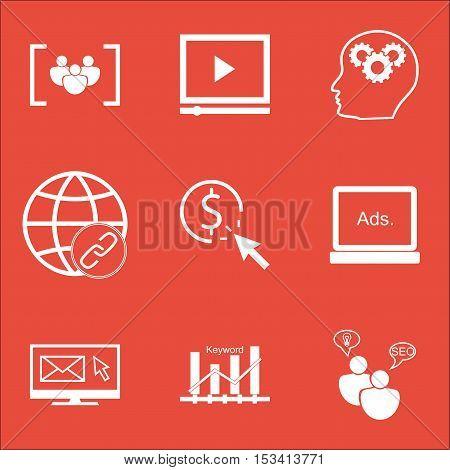 Set Of Advertising Icons On Newsletter, Seo Brainstorm And Keyword Optimisation Topics. Editable Vec