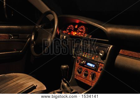 Car Interior At The Night.
