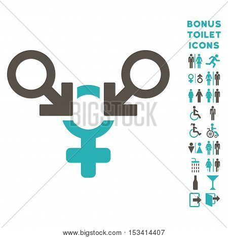 Polyandry icon and bonus gentleman and lady lavatory symbols. Vector illustration style is flat iconic bicolor symbols, grey and cyan colors, white background.