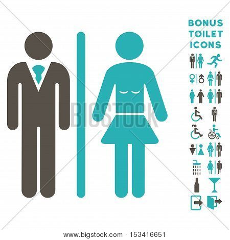 Toilet Persons icon and bonus male and female toilet symbols. Vector illustration style is flat iconic bicolor symbols, grey and cyan colors, white background.