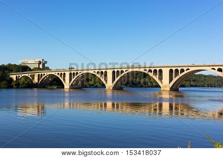 Key Bridge over Potomac River Washington DC USA. A view on the bridge from Georgetown Park in US capital.