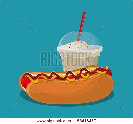 Hot dog and milkshake icon. Fast carnival food and menu theme. Colorful design. Vector illustratio