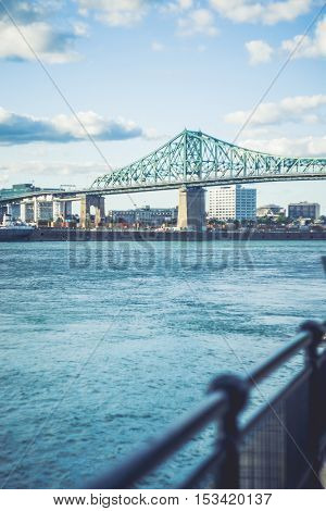 Beautilful day at Jacques-Cartier Bridge of Montreal Quebec Canada