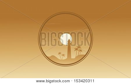 Brown backgrounds lighthouse of silhouettes vetcor art