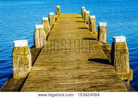 A mooring dock for boats in the bird sanctuary of Veluwemeer near the town of Nijkerk in the Netherlands