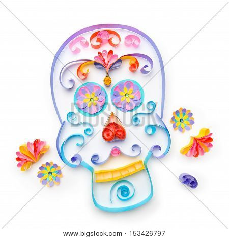 Sugar skull made with paper strips for