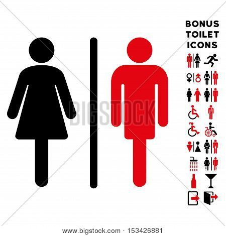 WC Persons icon and bonus male and female WC symbols. Vector illustration style is flat iconic bicolor symbols, intensive red and black colors, white background.