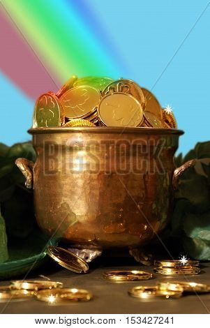 Saint Patricks day pot of gold for the festive Irish celebrations at the end of the rainbow.