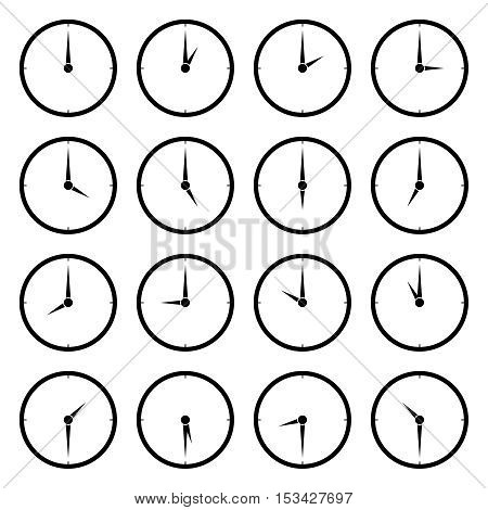 World clock, time zone vector icons. Travel and clock face to asia, europe and america illustration