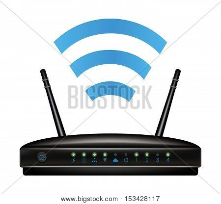 a black wifi wireless ethernet modem router poster