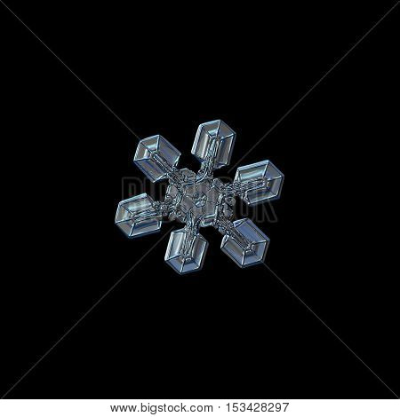 Snowflake isolated on black background: real photo of medium size snow crystal (around 3 millimeters from tip to tip), resembling gecko's paw, captured on glass surface with LED back light.