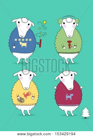 Cartoon white sheeps with colorful pullovers and new years attributes - petard cookiy fir-tree earmuffs. Patterns of chinese horoscope - rooster monkey dog sheep. Vector illustration
