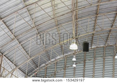 carpark metal roof structure and lamp steel industrial building indoor