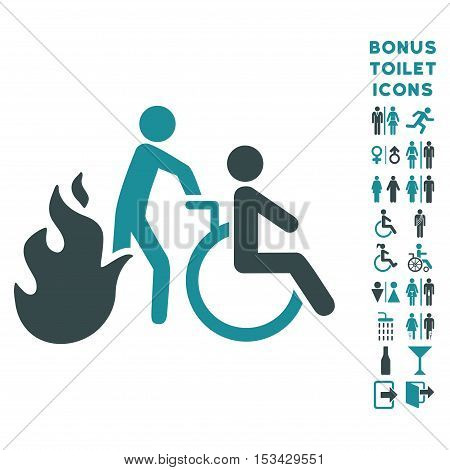 Fire Patient Evacuation icon and bonus man and woman toilet symbols. Vector illustration style is flat iconic bicolor symbols, soft blue colors, white background.