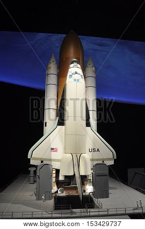 WASHINGTON DC - AUG 10, 2010: Space shuttle Columbia model in National Air and Space Museum, Washington DC, USA.
