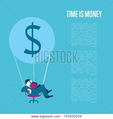 Young businessman flying on hot air balloon with office chair instead of basket. Time is money infographics template, vector illustration. Time management concept with space for text