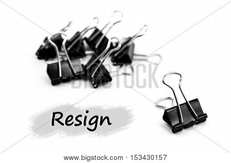 Group of Binder clip Paper clip Resign concept isolated on white background