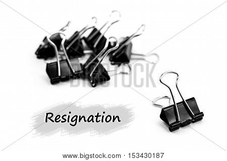 Group of Binder clip Paper clip Resignation concept isolated on white background