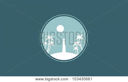 Silhouette of lighthouse and moon vector illustration