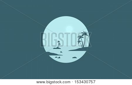 Silhouette of seaside and palm scenery vector illustration