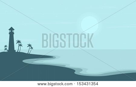 Beach with light house scenery silhouettes vector illustration