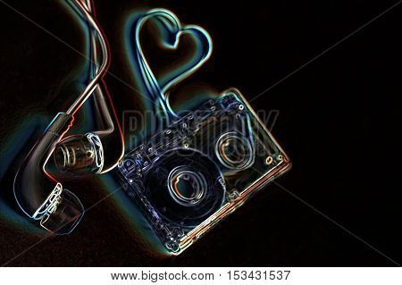 audiocassette retro music and film of her folded in the shape of a heart and headphones