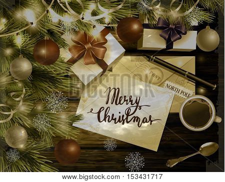 Christmas New Year design light wooden background with christmas tree and silver and red balls and wish list coffee teaspoon gift boxes envelope for santa and pen and handwritten Merry Christmas in old photo style.