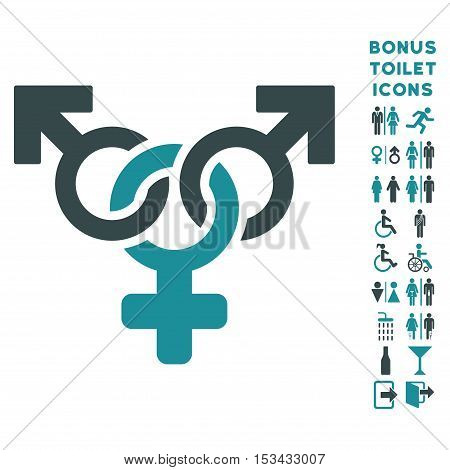Polyandry icon and bonus gentleman and woman restroom symbols. Vector illustration style is flat iconic bicolor symbols, soft blue colors, white background.