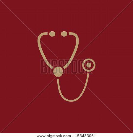 The phonendoscope icon. Stethoscope symbol. Flat Vector illustration