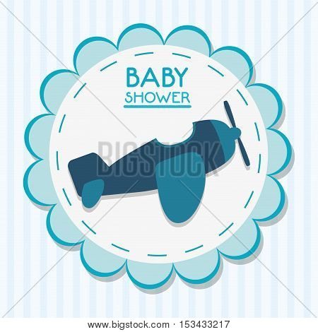 Airplane icon. Baby shower card and childhood theme. Colorful design. Vector illustration