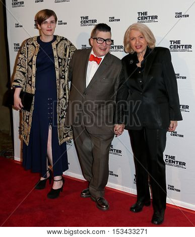 NEW YORK-APR 2: (L-R) Chelsea Fairless, comedian/actress Lea Delaria and Edith Windsor attend the 2015 Center Dinner at Cipriani Wall Street on April 2, 2015 in New York City.