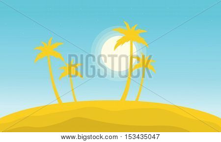 Silhouette of palm on the hills vector illustration